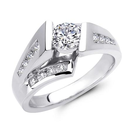 Floating Channel Set Diamond Engagement Ring