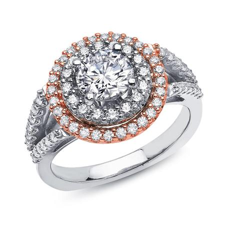 Rose and White Gold Diamond Engagement Ring