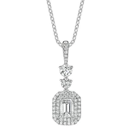 Emeral Cut and Round Diamond Necklace