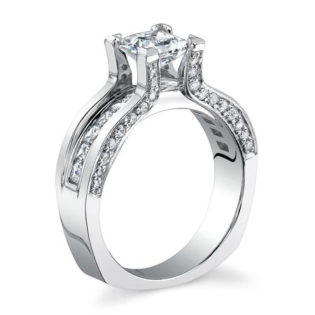 Floating Diamond Engagement Ring